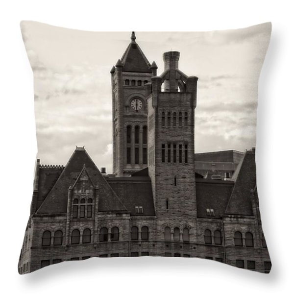 Nashville's Union Station Throw Pillow by Dan Sproul