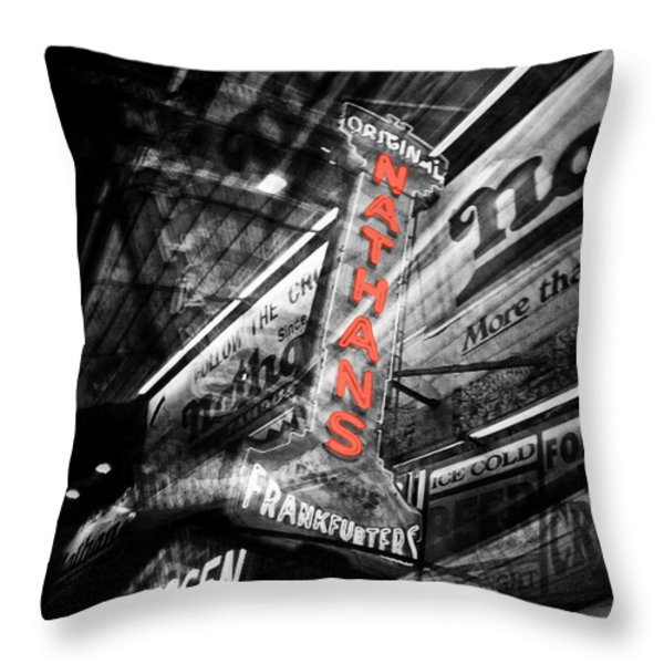 Nathan's Famous Throw Pillow by Natasha Marco