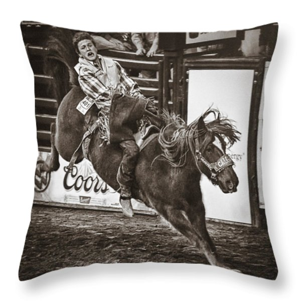 National Stock Show Bareback Riding Throw Pillow by Priscilla Burgers