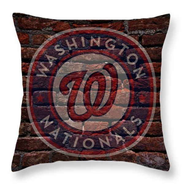 Nationals Baseball Graffiti on Brick  Throw Pillow by Movie Poster Prints