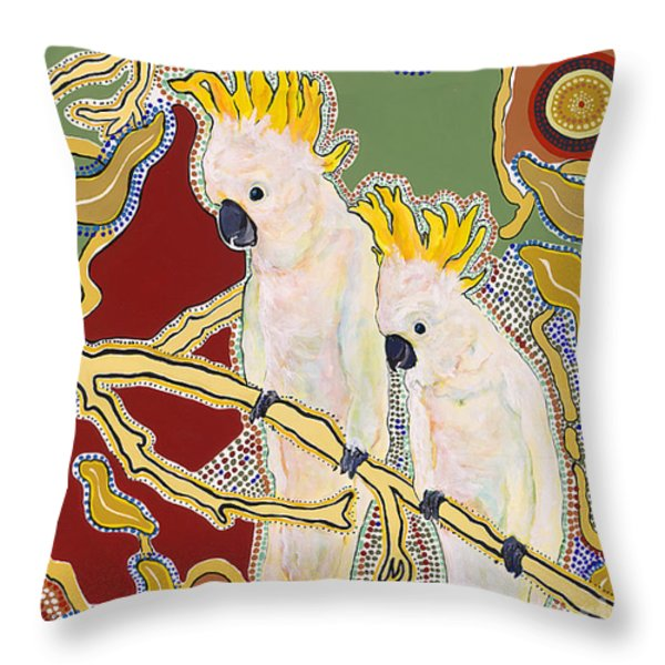 Native Aussies Throw Pillow by Pat Saunders-White