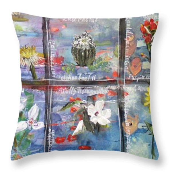 native Texas wildflowers A Throw Pillow by Michael Dillon