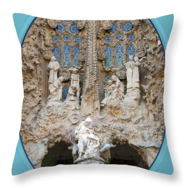 Nativity Barcelona Throw Pillow by Victoria Harrington