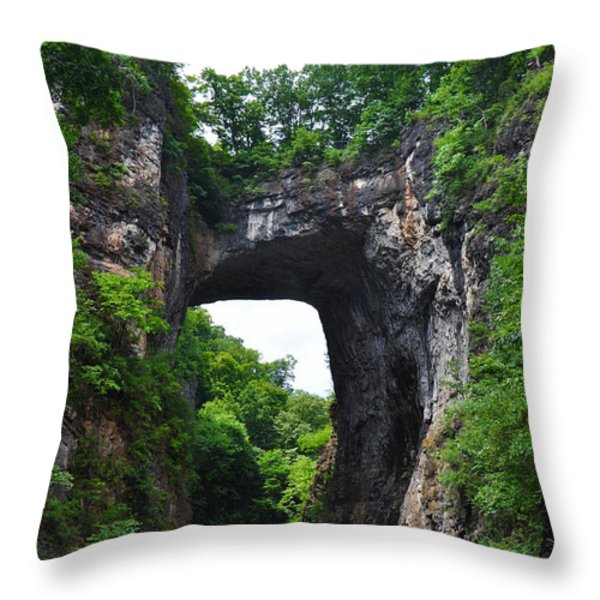 Natural Bridge In Rockbridge County Virginia Throw Pillow by Bill Cannon