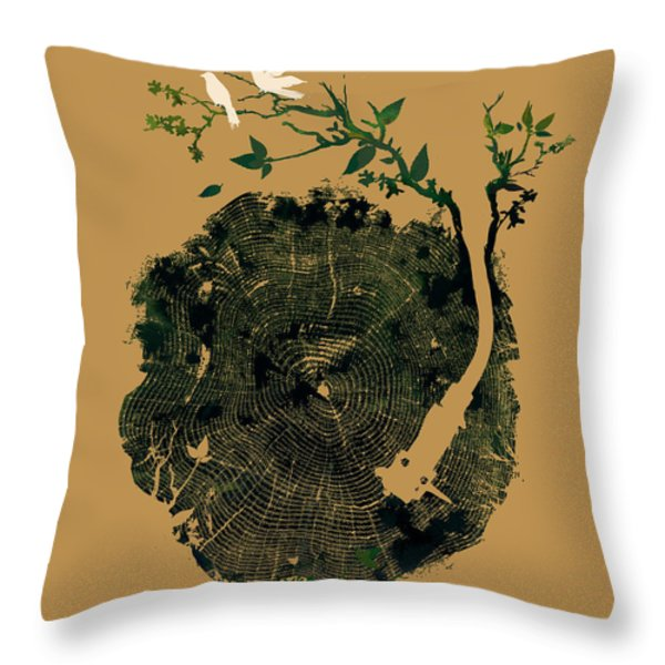 Nature sound Throw Pillow by Budi Kwan