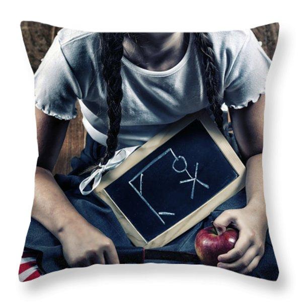 Naughty School Girl Throw Pillow by Joana Kruse