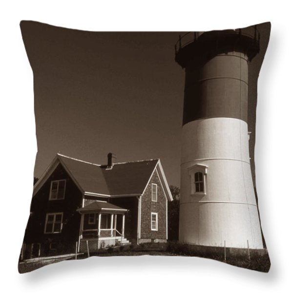 NAUSET LIGHTHOUSE Throw Pillow by Skip Willits
