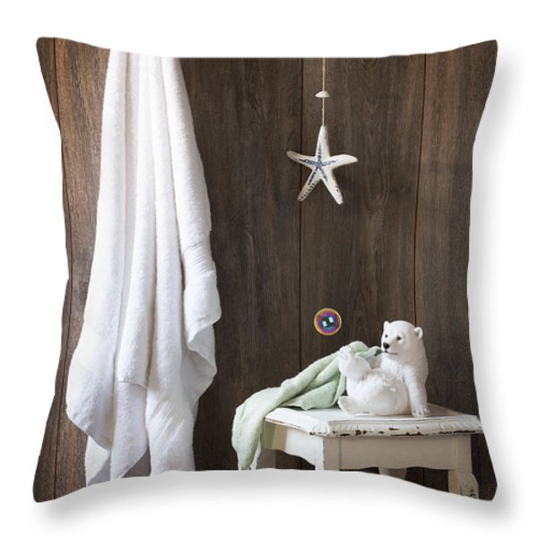 Nautical Bathroom Throw Pillow by Amanda And Christopher Elwell