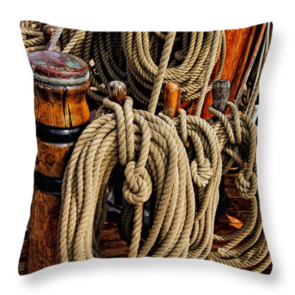 Nautical Knots 17 Oil Throw Pillow by Mark Myhaver