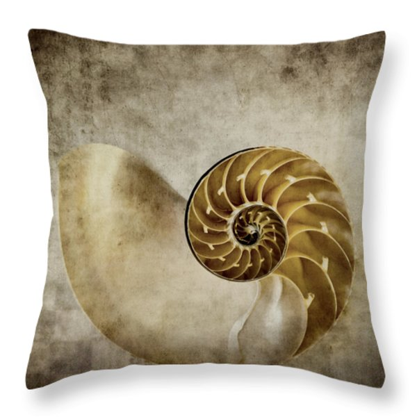 Nautilus Shell Throw Pillow by Carol Leigh
