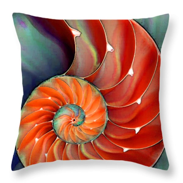 Nautilus Shell - Nature's Perfection Throw Pillow by Sharon Cummings