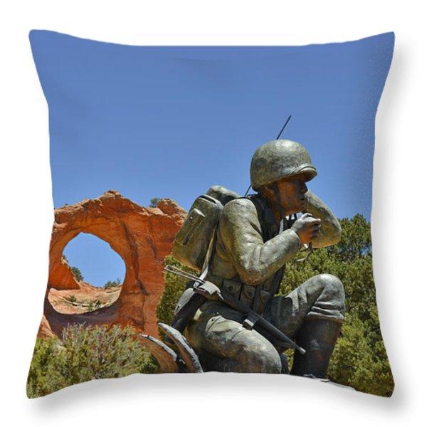 Navajo Code Talker - Window Rock Az Throw Pillow by Christine Till