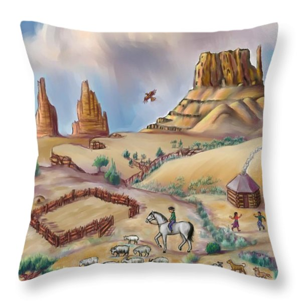Navajo Sheepherder - Age 11 Throw Pillow by Dawn Senior-Trask
