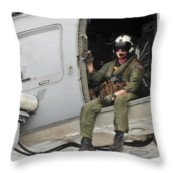Naval Aircrewman Acts In An Sh-60b Sea Throw Pillow by Stocktrek Images