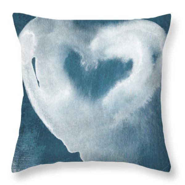 Navy Blue and White Love Throw Pillow by Linda Woods