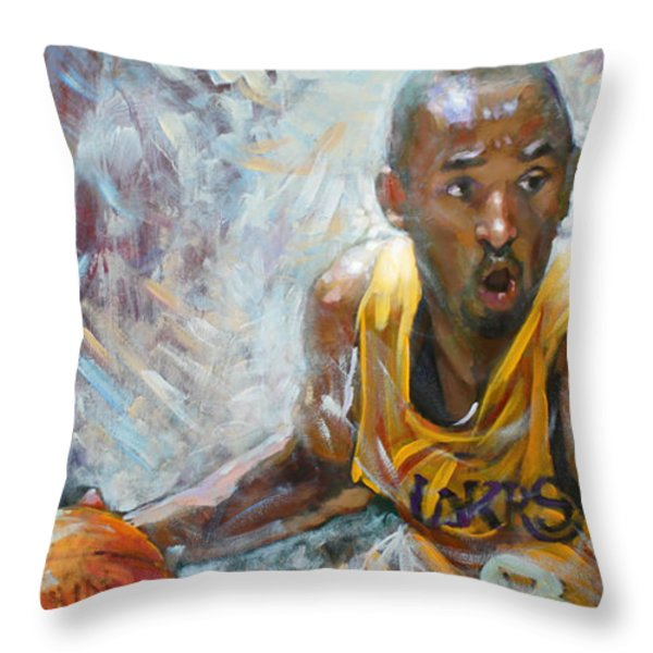 NBA Lakers Kobe Black Mamba Throw Pillow by Ylli Haruni