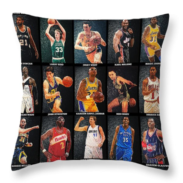 NBA Legends Throw Pillow by Taylan Soyturk