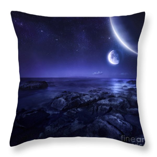 Nearby Planets Hover Over The Ocean Throw Pillow by Evgeny Kuklev