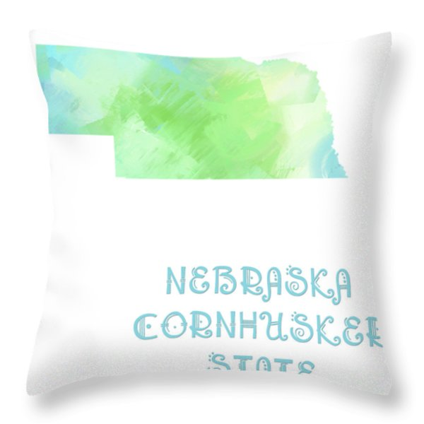 Nebraska - Cornhusker State - Map - State Phrase - Geology Throw Pillow by Andee Design