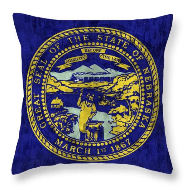 Nebraska Flag Throw Pillow by World Art Prints And Designs