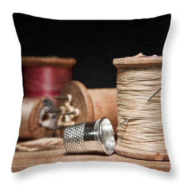 Needle And Thread Throw Pillow by Tom Mc Nemar