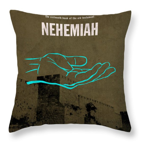 Nehemiah Books Of The Bible Series Old Testament Minimal Poster Art Number 16 Throw Pillow by Design Turnpike