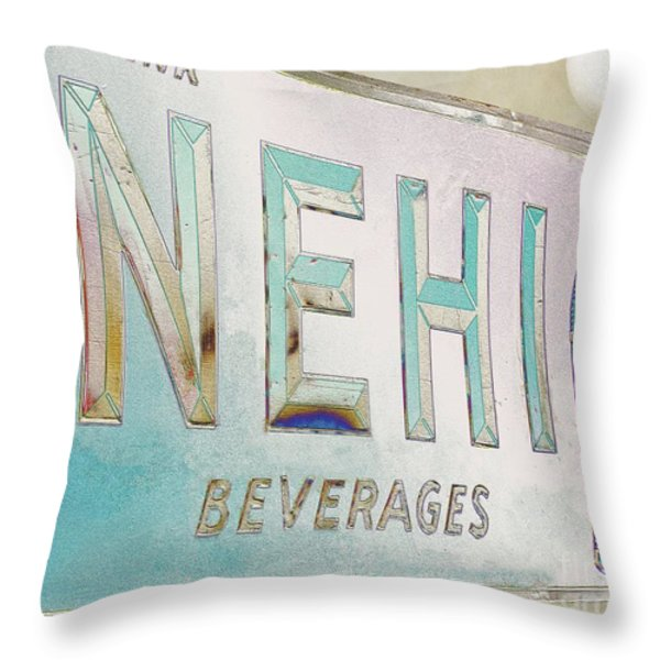 Nehi Ice Cold Beverages Sign Throw Pillow by Liane Wright