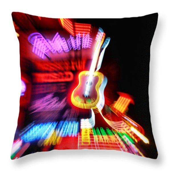Neon Burst In Downtown Nashville Throw Pillow by Dan Sproul