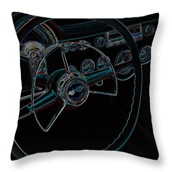 Neon Corvette Dash Throw Pillow by Steve McKinzie