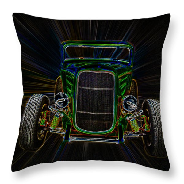 Neon Deuce Coupe Throw Pillow by Steve McKinzie