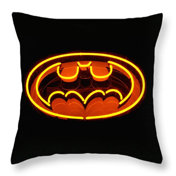 Neon Knight - Hero Rising Throw Pillow by Steven Milner