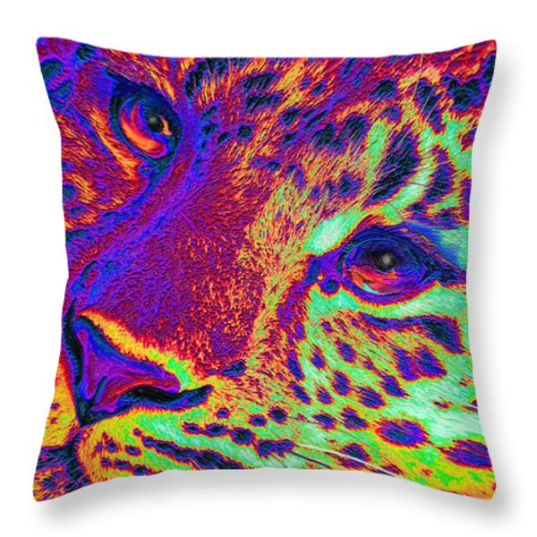 Neon Leopard Throw Pillow by Jane Schnetlage