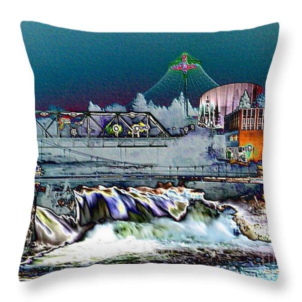 Neon Lights of Spokane Falls Throw Pillow by Carol Groenen