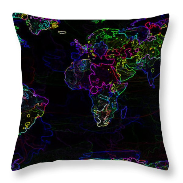 Neon World Map Throw Pillow by Zaira Dzhaubaeva