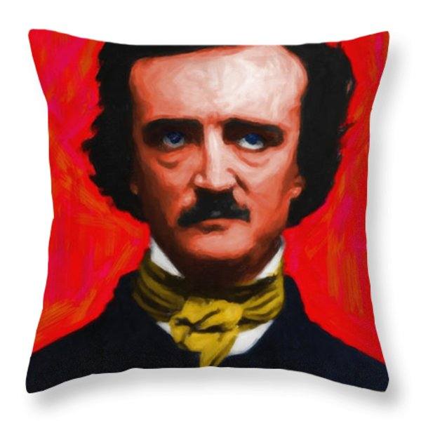 Nevermore - Edgar Allan Poe - Painterly Throw Pillow by Wingsdomain Art and Photography
