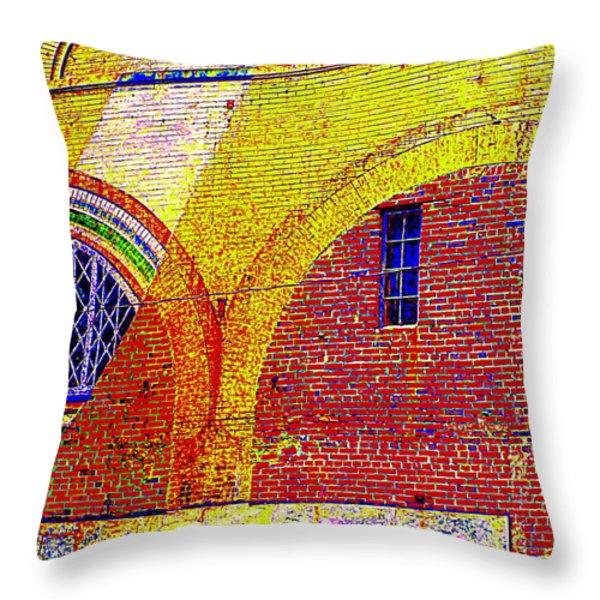 New Bern Mural Throw Pillow by Randall Weidner