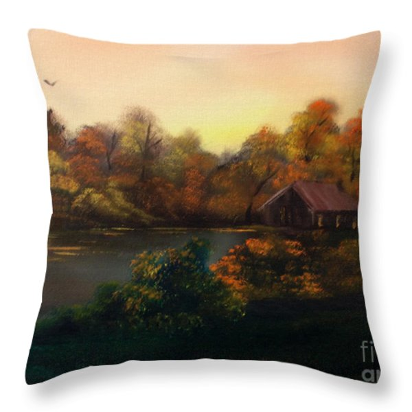 New day in Autumn Sold Throw Pillow by Cynthia Adams