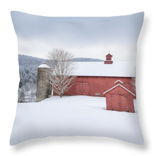 New England Barns Throw Pillow by Bill  Wakeley