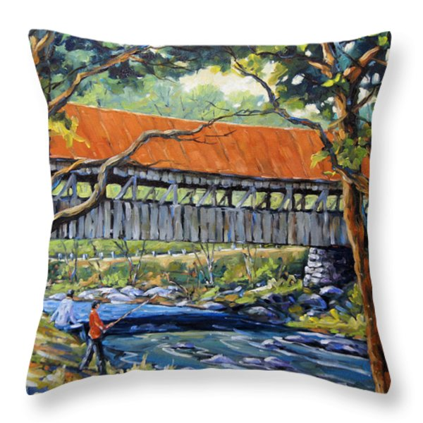 New England Covered Bridge by Prankearts Throw Pillow by Richard T Pranke