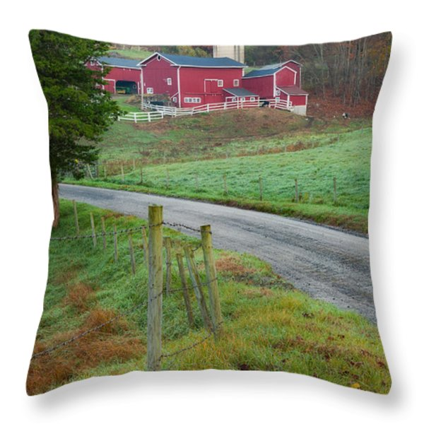 New England Farm Throw Pillow by Bill  Wakeley