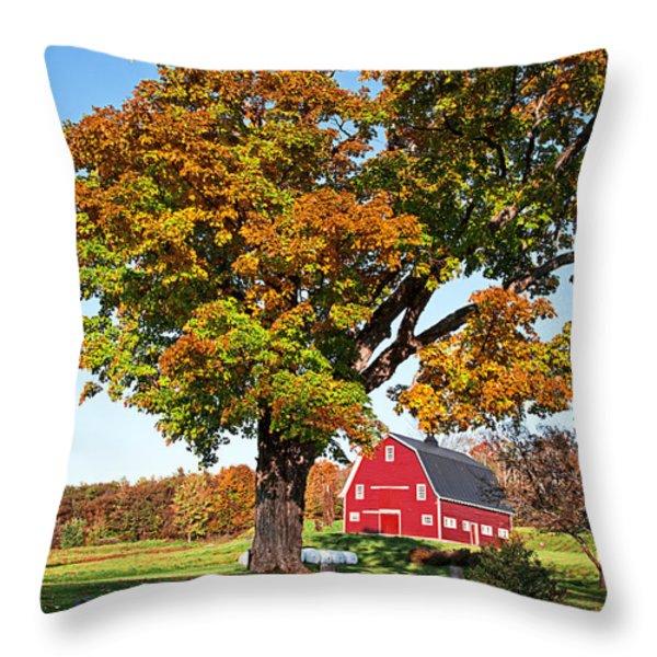 New England Farm Fall Foliage Throw Pillow by Edward Fielding