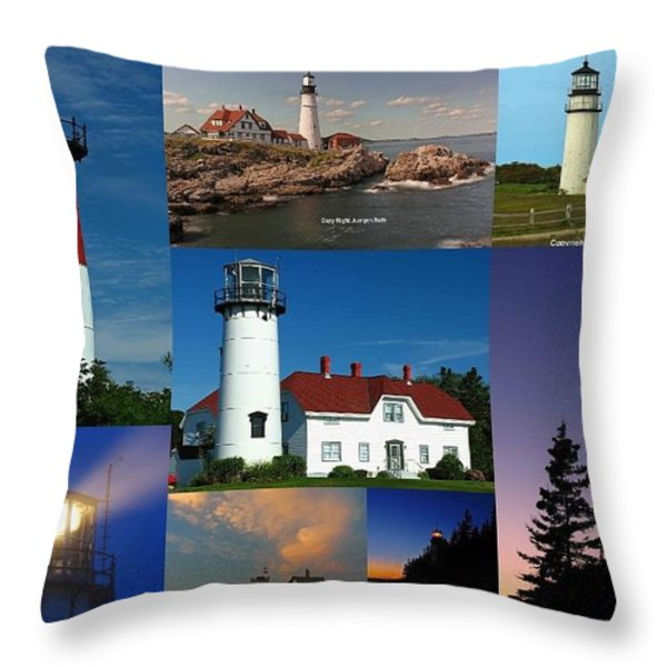 New England Lighthouse Collection Throw Pillow by Juergen Roth