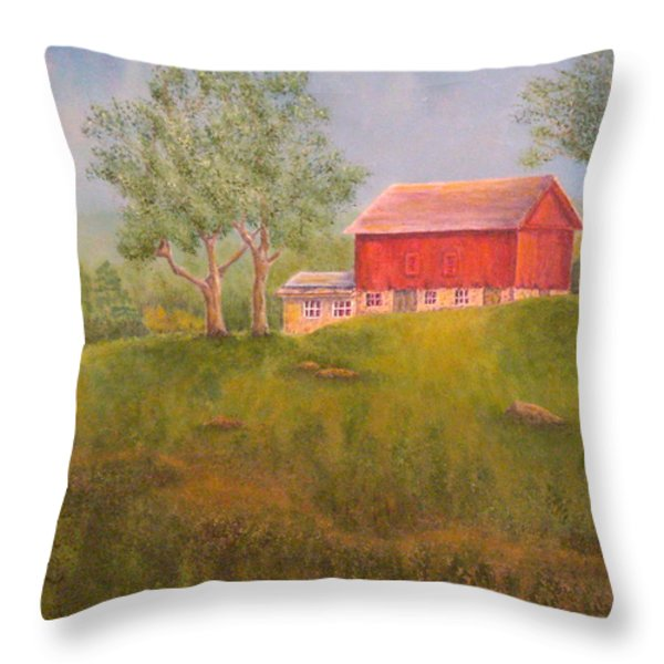 New England Red Barn At Sunrise Throw Pillow by Pamela Allegretto