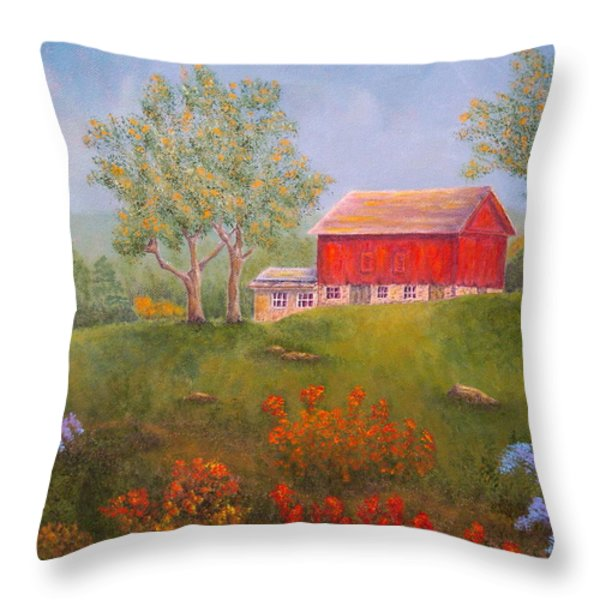 New England Red Barn Summer Throw Pillow by Pamela Allegretto