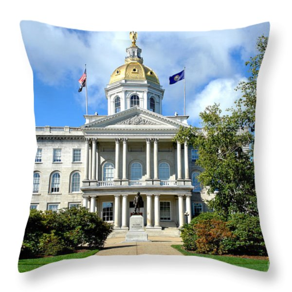 New Hampshire State Capitol Throw Pillow by Olivier Le Queinec