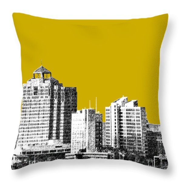 New Haven Skyline - Gold Throw Pillow by DB Artist