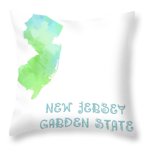 New Jersey - Garden State - Map - State Phrase - Geology Throw Pillow by Andee Design