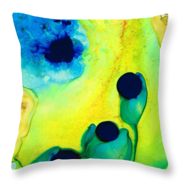 New Life - Green and Blue Art by Sharon Cummings Throw Pillow by Sharon Cummings