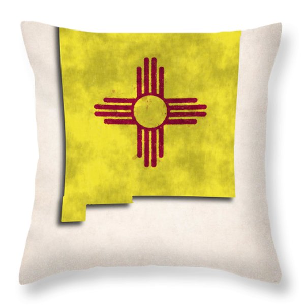 New Mexico Map Art with Flag Design Throw Pillow by World Art Prints And Designs