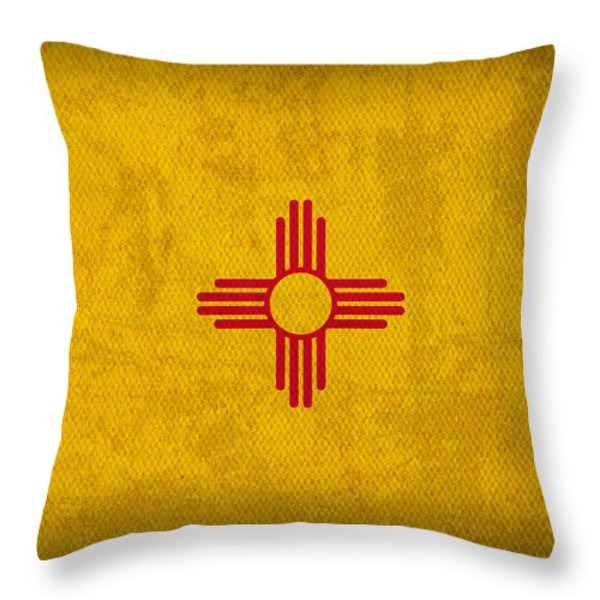 New Mexico State Flag Art On Worn Canvas Throw Pillow by Design Turnpike